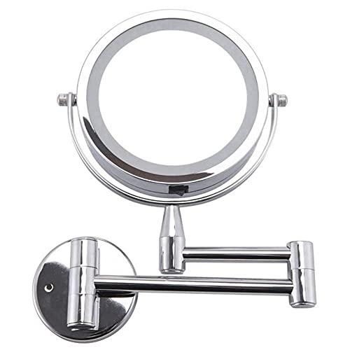 JYKFJ Espejo de baño Espejo cosmético LED 1X / 3X Ampliación Espejo de Maquillaje Ajustable montado en la Pared Espejo de baño de 2 Caras extendido de Brazo Doble (Color: Plata)
