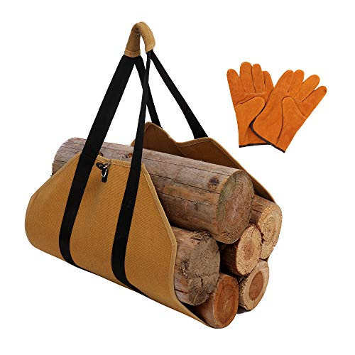 Firewood Log Carrier Include Leather Gloves Heavy Duty Canvas Log Carrier Tote with Handles Security Strap Best Fireplace Wood Holder Storage Bag for Camping Depot and Home