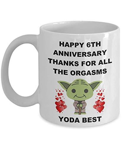 6th 6 Year Wedding Anniversary Sexy Gifts For Yoda Best Husband Wife Gay Lesbian Partner Lover Men Women Star Wars Funny Coffee Mug Cup