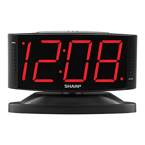Sharp Digital Alarm Clock with Easy to Read Large Numbers and Swivel Base