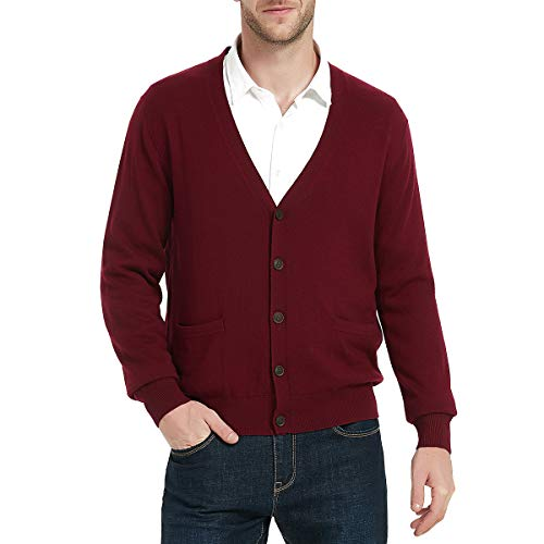 Kallspin Men's Relax Fit V-Neck Cardigan Cashmere Wool Blend Button with Pockets (XXL, Burgundy)