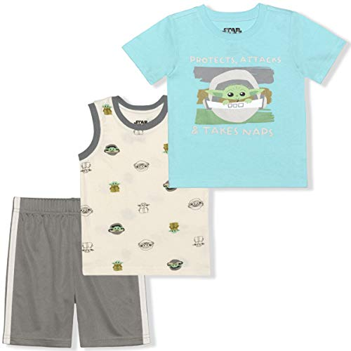 STAR WARS Lucasfilm Boy's 2-Piece Baby Yoda Curious Child Tee Shirt and Mesh Short Set, Beige/Green, Size 3T