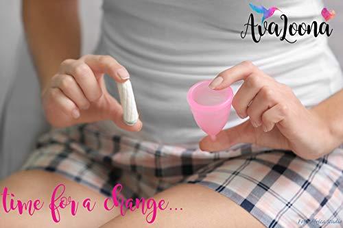 AvaLoona Menstruationstasse klein medizinisches Silikon – 1 EUR pro Menstruationskappe geht an Terre des Femmes (1 Menstruationsbecher) (klein, rot) - 7