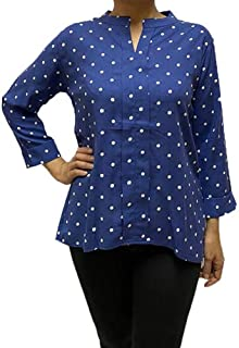 Veronica Long Sleeve Ladies Blouse Blue polka dots