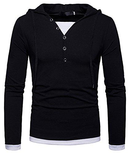 WHATLEES Urban Basic - Camiseta de manga larga con capucha para hombre B925-black M