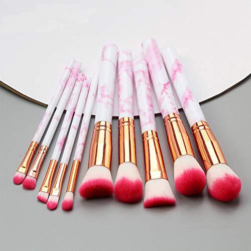 LILONGXI Pinceau De Maquillage,10 Pc Soft Rosered en Professionnel Outils Set Fard À Paupières Eyeliner Lèvres Poudre Foundation
