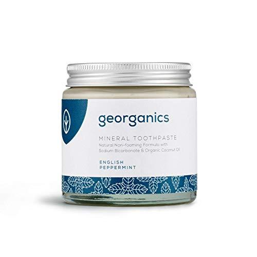 Georganics - Natürliche Zahnpasta mit Mineralien und Aufhellendem Effekt - Nicht-Schäumende Formel mit Nativem Bio-Kokosöl - Vegan, ohne SLS, Tierversuche und Fluorid - Englische Pfefferminze - 120ml