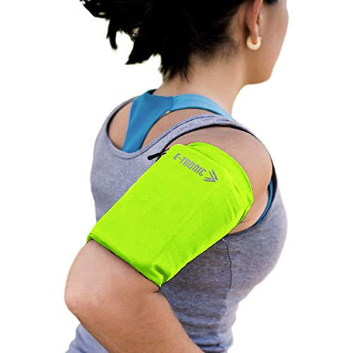 Phone Armband Sleeve: Running & Jogging High Visibility Cellphone Holder in Fluorescent Yellow to be Seen at Night. Reflective Gear & Safety Accessories for Women & Men & Kids. Fits ALL Phones (SMALL)