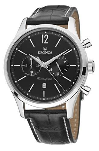 Kronos Herren Uhr Chronograph Quarz mit Leder Armband 765,55