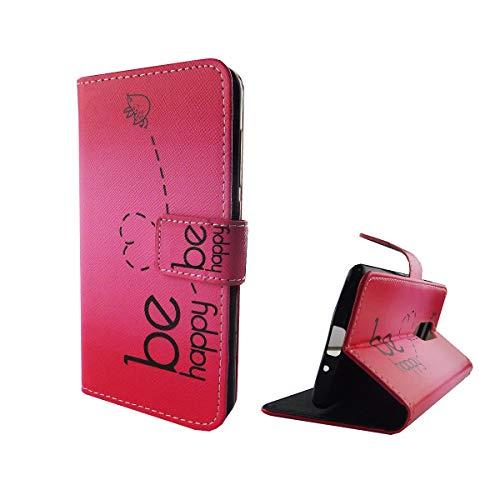 König Design Handyhülle Kompatibel mit ZTE Axon 7 Mini Handytasche Schutzhülle Tasche Flip Hülle mit Kreditkartenfächern - Be Happy Design Pink