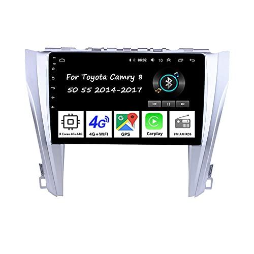 Autoradio Auto Stereo 9 Inch Touchscreen GPS Navigation Für Toyota Camry 8 50 55 2014-2017Auto Zubeh?r Einfügen und verwenden Lenkradsteuerung Unterstützung DAB RDS SWC,8 Cores 4G+64G