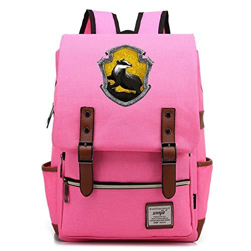 Mochila de Harry Potter para Estudiantes de 7~15 Grados Paquete de impresin 3D Hogwarts Animal Badge Book Bag Hufflepuff Pink