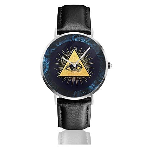 Reloj con Correa de Cuero Illuminati Eye Casual Cuarzo de Acero Inoxidable Pulsera de Cuero Negro y Esfera Delgada