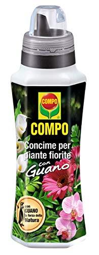 Compo 1405606005 Concime Liquido per Piante Fiorite con Guano, Fertilizzante Organico Naturale per Fiori Rigogliosi, 1 Litro
