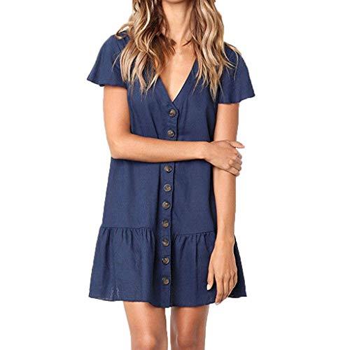 Lialbert V-Ausschnitt Strandkleid Swing-Kleid ÄRmeln RüSchen Skaterkleid Minikleid Sommerkleid Schwingendes Frauen Rock Tunika A-Linie Cocktail Party Blau