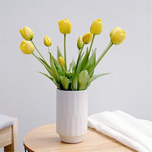 JTRHD Flores Artificiales en macetas Bouquet Nordic Desktop PU Simulación Sala de decoración Tulipán Decoración Sala de Estar Decoración del alféizar de la Ventana (Color : Amarillo, Size : One Size)