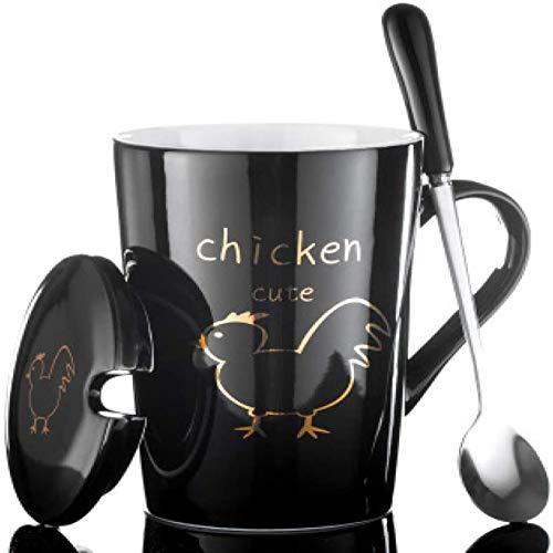 Coppa Fein tazza tazza di caffè 12 cartello animale opzionale creativo creativo ceramica coppia coppia birra tazza cartoon tazza cucchiaio con coperchio latte caffè personalità L 420ml ( Color : 11 )