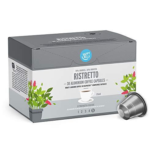 Marca Amazon - Happy Belly Ristretto Cafe molido de tueste natural en capsulas de aluminio compatibles con Nespresso, 120 capsulas (4x30)