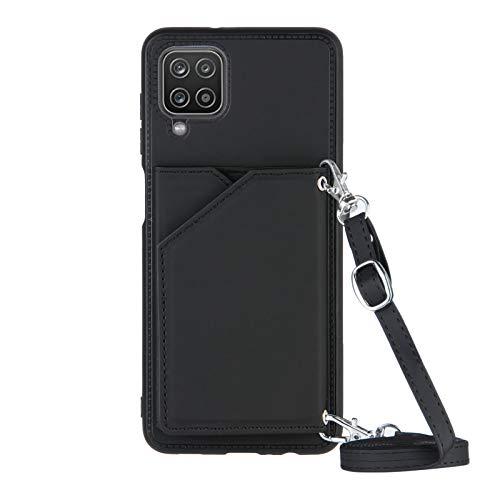 Lanyard Brieftasche Kreditkartenetui Handyhülle für Samsung Galaxy A12 (Schwarz)