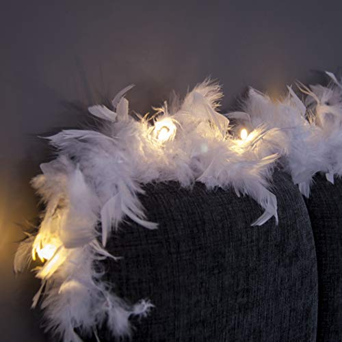 New Feather Lights with Warm White LEDs and White Feathers. Battery Operated with on/Off/Timer Modes. (Feather Garland)