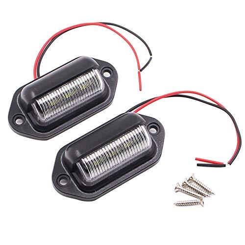 Jixista Kennzeichenbeleuchtung LED Kennzeichenbeleuchtung Rücklicht 2pcs Kennzeichenbeleuchtung Universal LED Nummernschild Tag Licht Lampen für Auto Anhänger Fahrzeug LKW Van Caravan Boot