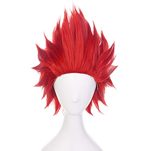 Anogol Hair Cap+Funny wigs for Anime Wig Short Red Anime Cosplay Wig Synthetic Hair Wavy Wigs Fancy Dress Costume Party
