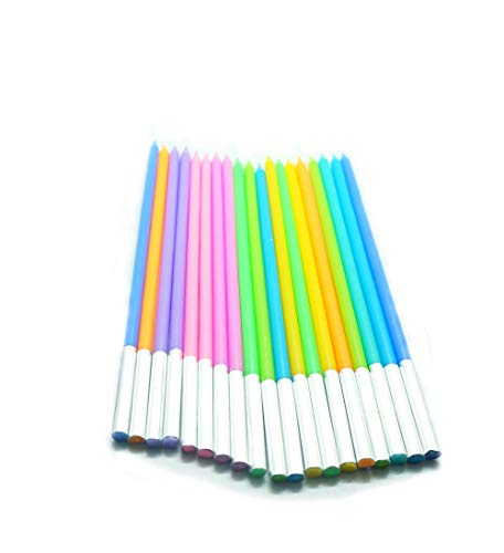20 Count Party Long Thin Cake Candles Metallic Birthday Candles in Holders for Birthday Cakes Decorations , Rainbow