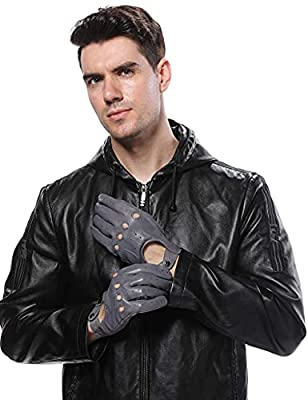 LIBO Leather Driving Thin Gloves Unlined Full Finger Retro Sports Gloves For Men And Women Non Touch Screen