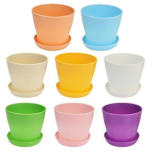 WANTOUTH 8 pcs Macetas Plastico Colores Maceta de Plástico con Platillo para Flores Macetas de Plástico para Viveros Coloridas con Plato Plastico para Maceta para Interior y Exterior - 9.6*8.5cm