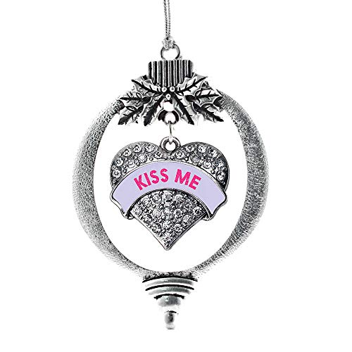 Inspired Silver - Kiss Me Purple Candy Charm Ornament - Silver Pave Heart Charm Holiday Ornaments with Cubic Zirconia Jewelry