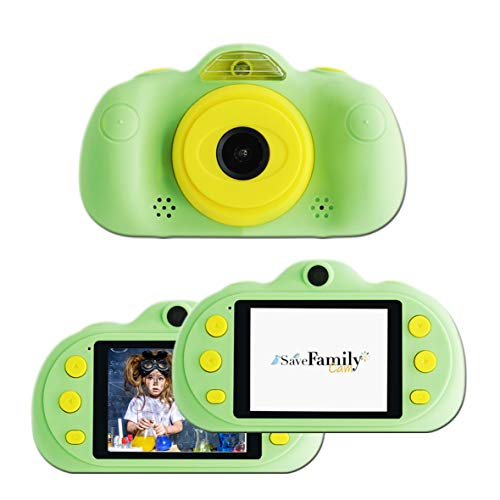 SaveFamilyCam. Cámara de Fotos para Niños. Cámara de vídeo Infantil. Cámara Digital SaveFamily Infantil. Gratis Tarjeta de Memoria. Marca española. Selfies, filtros, Juegos y MP3. Verde