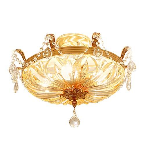 Lámpara de techo Brillante 48 cm de Cobre Lleno Cristal led Sala de Estar Dormitorio lámpara Iluminación de Sala Redonda Robusto