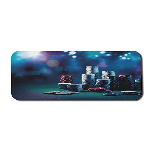 Poker Turnier Computer Mauspad, Spieltisch Poker Chips Dramatische Anzeige Vegas Freizeit Kunstdruck, Rechteck rutschfeste Gummi Mousepad große mehrfarbig