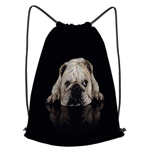 YMWEI Impermeable Bolsa de Cuerdas Saco de Gimnasio Un pequeño bulldog blanco sobre fondo negro lindo y divertido Deporte Mochila para Playa Viaje Natación