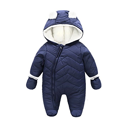 Ding-dong Baby Boy Girl Winter Hooded Puffer Jacket Snowsuit with Gloves(Navy,12-18M)