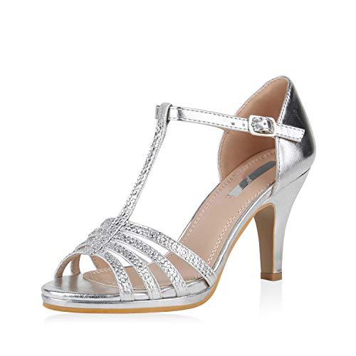 SCARPE VITA Damen Pumps Sandaletten Leder-Optik Riemchensandaletten Strass Metallic Schuhe Elegante Stiletto Mid Heels 168105 Silber Silver 40