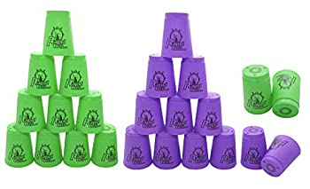 24 Pack Sports Stacking Cups Quick Stack Cups Set Speed Training Game for Travel Party Challenge Competition Green+Purple