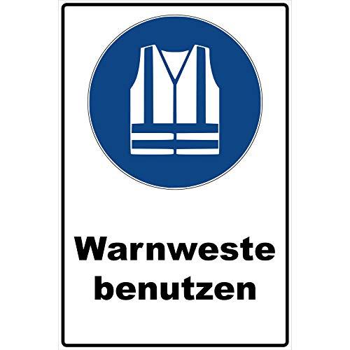 Schild Warnweste benutzen Schild Gebotszeichen blau 30 x 20 x 0,3 cm Hartschaumplatte