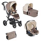 Jané Crosswalk R - Cochecito de bebe 3 piezas, capazo plegable, portabebé homologado y silla de paseo, con bolso y plástico de lluvia, plegado compacto, hamaca reversible, unisex, dorado