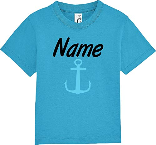 Kleckerliese Baby Kinder T-Shirt Kurzarm Sprüche Jungen Mädchen Shirt Nicki mit Aufdruck Wunschname Name Wunschtext Anker, Aqua, 12-18 Monate