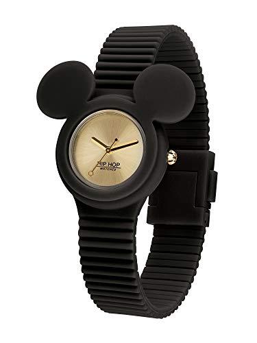 Hip Hop Watches - Damen Hip Hop Jubiläums Sonderedition Disney Uhr Micky Mouse - Micky Maus Ikonische Kollektion - Silikonarmband - 32mm Gehäuse - Wasserdicht - Schwarz - Quarzwerk