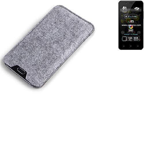 K-S-Trade® Filz Schutz Hülle Für Allview P4 Pro Schutzhülle Filztasche Filz Tasche Case Sleeve Handyhülle Filzhülle Grau