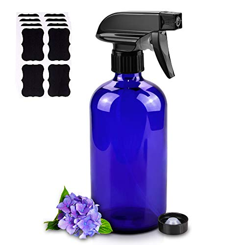 Glass Spray Bottles, 16oz Refillable Containers, Empty Boston Round Bottles with Labels & Adjustable Nozzle for Cleaning, Gardening, Aromatherapy, Pets, Plant, Hair -Blue (1 Pack)