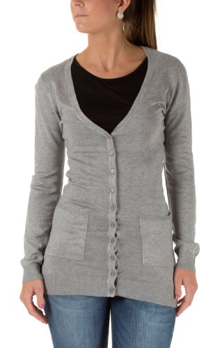 VERO MODA Damen Sweatjacken Glory New LS Long V-Neck, Light Grey Melange, XS