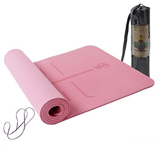 Lixada Tappetini Antiscivolo in TPE Yoga Pilates insipido Palestra Esercizio Sport Cuscinetti per Body Building Fitness con Linea di Posizione con Tracolla e Borsa 183 * 61 * 0.6cm