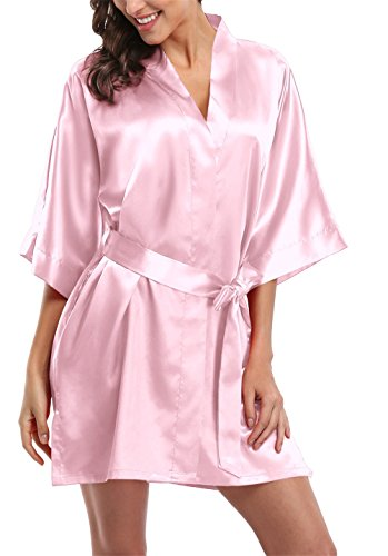 Giova Pure Color Satin Short Silky Bathrobe Sleepwear Nightgown Pajama,Baby Pink,XXX-Large