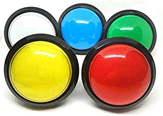 Arcity 5 Pcs 100mm Arcade Push Button LED Dome Illuminated with Microswitch for Jamma MAME Pop'n Music Game Machine Cabinet 5 Colors New