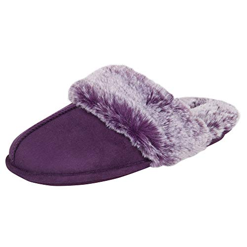 Jessica Simpson Women's Comfy Faux Fur House Slipper Scuff Memory Foam Slip on Anti-skid Sole, Purple, Medium