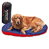 Furhaven Pet Dog Bed - Trail Pup Packable Outdoor Travel Pet Camping Pillow Bed Stuff Sack with Bag for Dogs and Cats, Flame Red and True Blue, Large