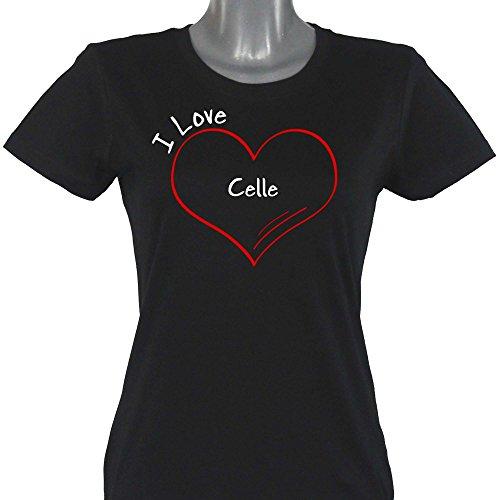 T-Shirt Modern I Love Celle schwarz Damen Gr. S bis 2XL, Größe:XXL